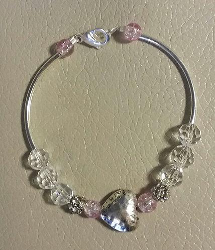 Crystal & Pink Heart Bar Bracelet