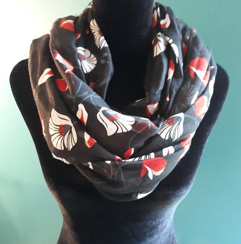 Black & Red Floral Scarf