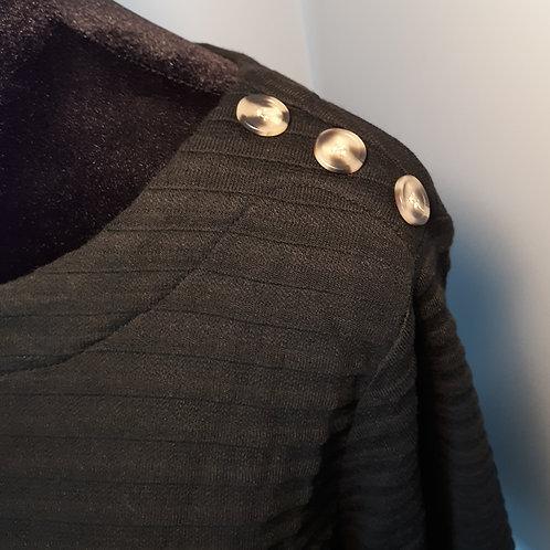 Black Shadow Stripe Top w/Button Accent