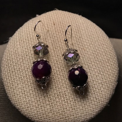 Purple Faceted Scallop Earrings
