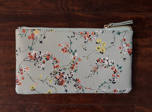 Mint Floral Cosmetics Pouch - Small