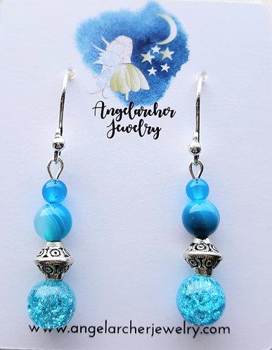 Light Blue Quartzite & Striped Agate Earrings