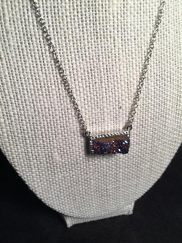Purple Stone Rectangle Pendant Choker