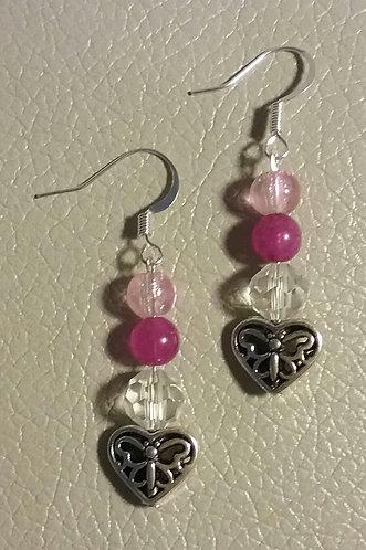 Pink Butterfly Heart Earrings