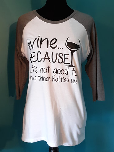 Wine Baseball Tee - White w/Gray