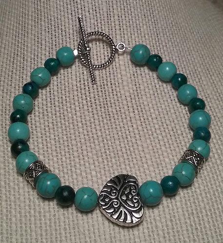 Antique Heart Bracelet - Turquoise