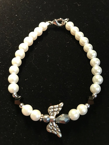 Angel Wing Bracelet w/Faceted Black Crystals
