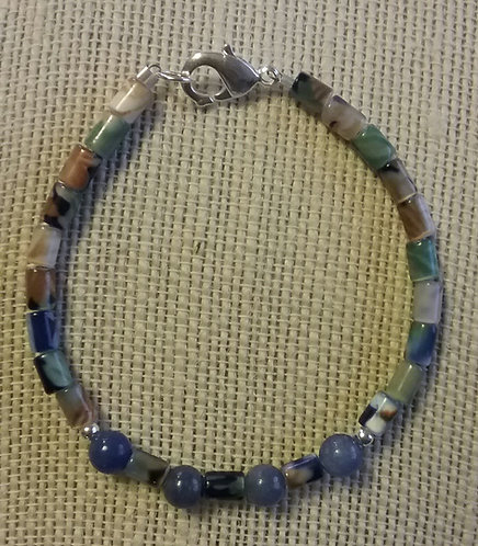 Multi Glass & Blue Aventurine Bracelet