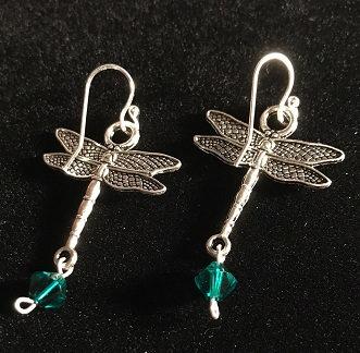Dragonfly Earrings w/May Birthstone Crystal