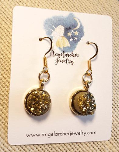 Gold Agate Stone Earrings