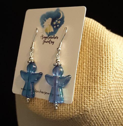 Blue Iridescent Angel Earrings