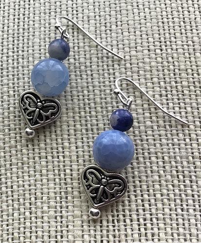 Light Blue Fire Agate Crackle Earrings