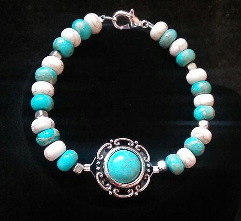 Turquoise & White Howlite Pendant Bracelet
