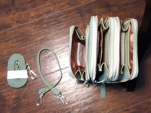 Deluxe Cell Phone Crossbody Wallet - Seafoam