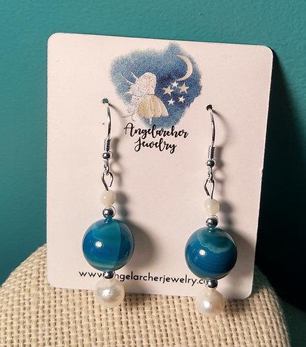 Teal Blue Agate & FW Pearl Earrings