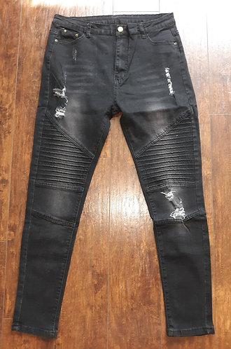 Distressed Denim Moto Stretch Jeans - Black Wash