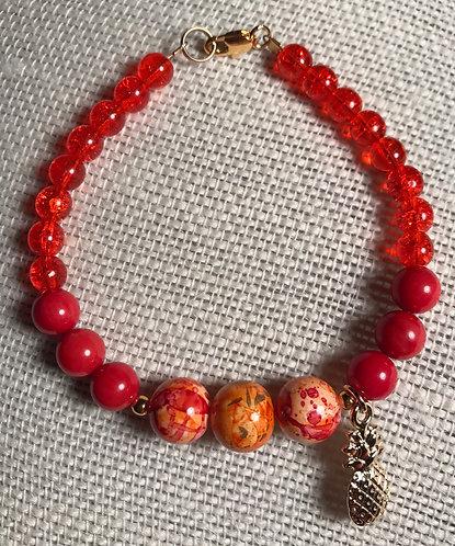 Orange Crackle Bracelet w/Pineapple Charm