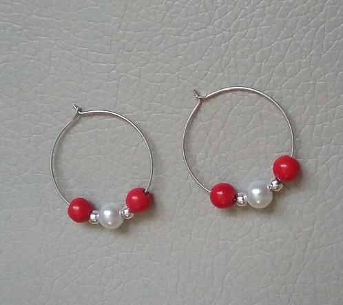 Red & White Hoop Earrings