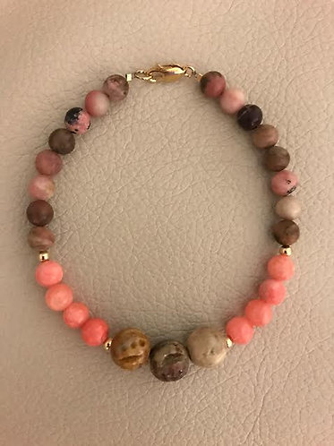 Peachy Pink Dyed Quartzite, Rhodonite & Carved Soapstone Set