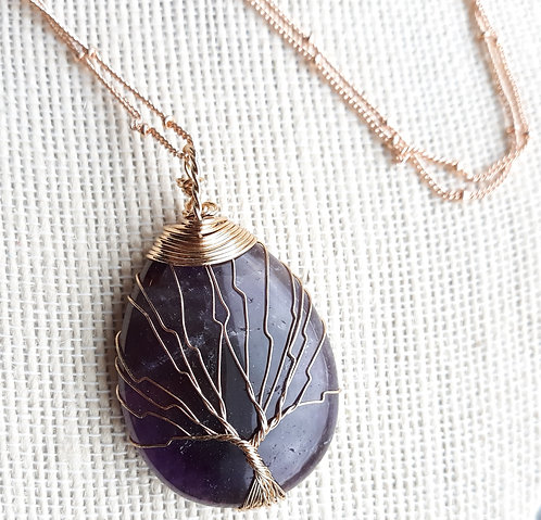 Purple Agate Tree of Life Pendant Necklace