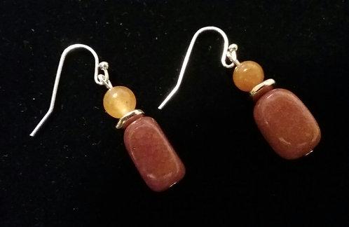Orange Quartzite Nugget Earrings