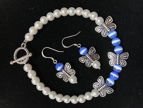 Blue Cats Eye Butterfly Bracelet & Earrings Set