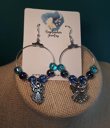 Blue Iridescent Angel Charm Hoop Earrings