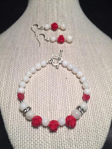 Mini-Red Rose Bracelet & Earrings Set