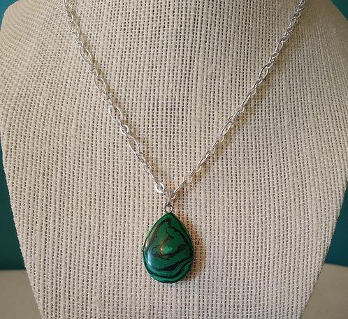 Green Malachite Teardrop Chain Necklace