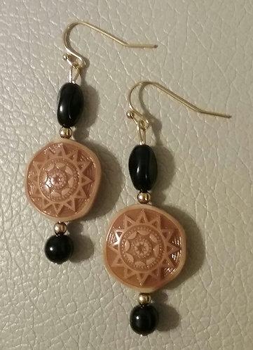 Aztec Sun & Black Glass Earrings