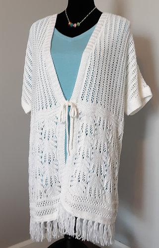 Crochet Tie-Front Fringe Cardigan – White