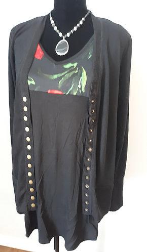 Snap Cardigan Sweater - Black