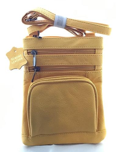 Soft Leather Crossbody Bag - Yellow