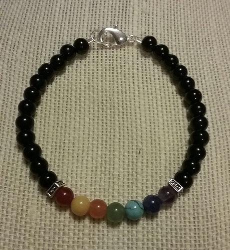 Seven Chakra/Yoga Bracelet w/Black Glass