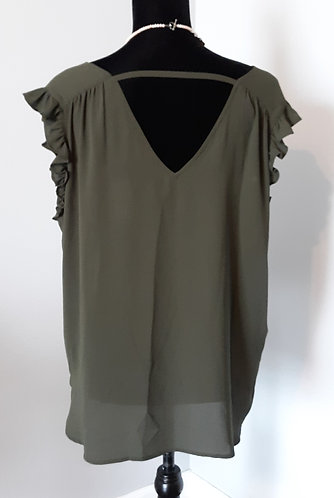 Olive Ruffle Bar-Back Top