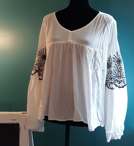 White Blouse with Black Embroidery