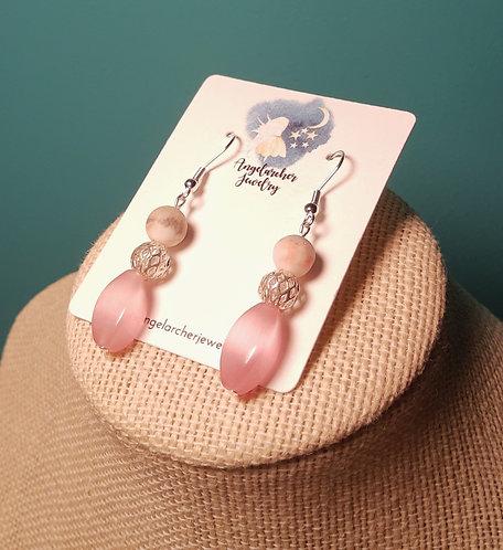 Pink Cats Eye Twist Earrings