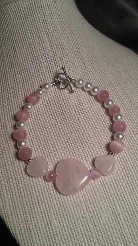 Rose Quartz Heart & White Glass Pearl Bracelet