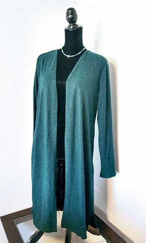 Open-Front Cardigan - Heathered Forest Green