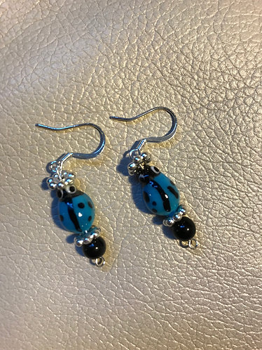 Blue Small Ladybug Earrings