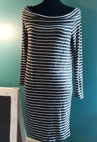 Black & White Stripe Off-Shoulder Dress - LARGE