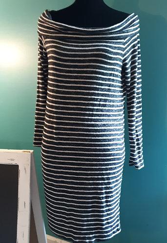 Black & White Stripe Off-Shoulder Dress - SMALL