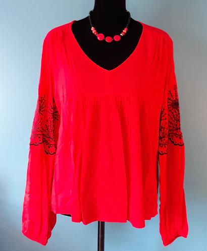 Red Embroidered V-Neck Blouse