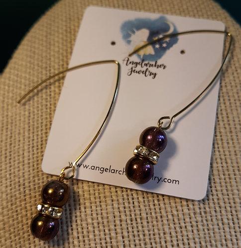 Iridescent Purple Rhinestone V Hook Earrings