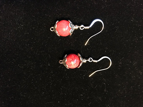 Pink Dyed Quartzite Earrings