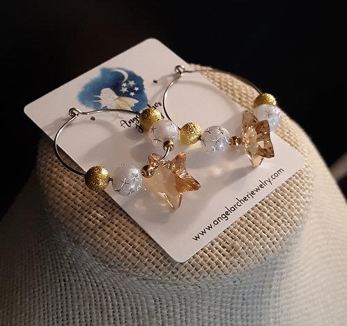 Gold Swarovski Crystal Star Hoop Earrings