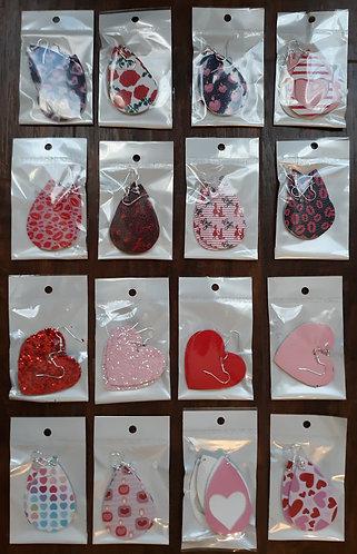 Valentine Faux Leather Teardrop Earrings