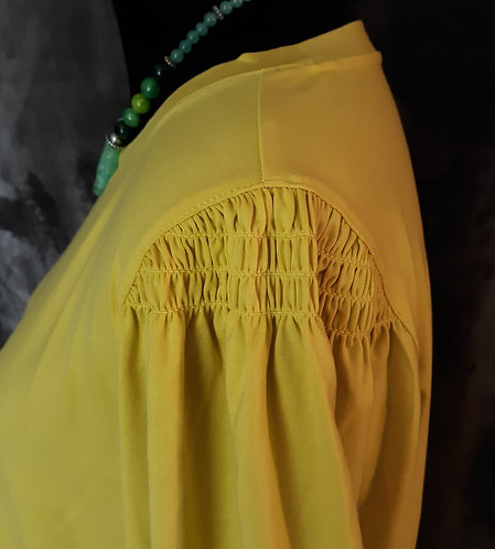 Yellow Citron Smocked Shoulder Top
