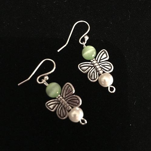 Butterfly Earrings - Green Cats Eye