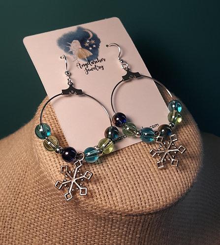 Blue Iridescent Snowflake Charm Hoop Earrings